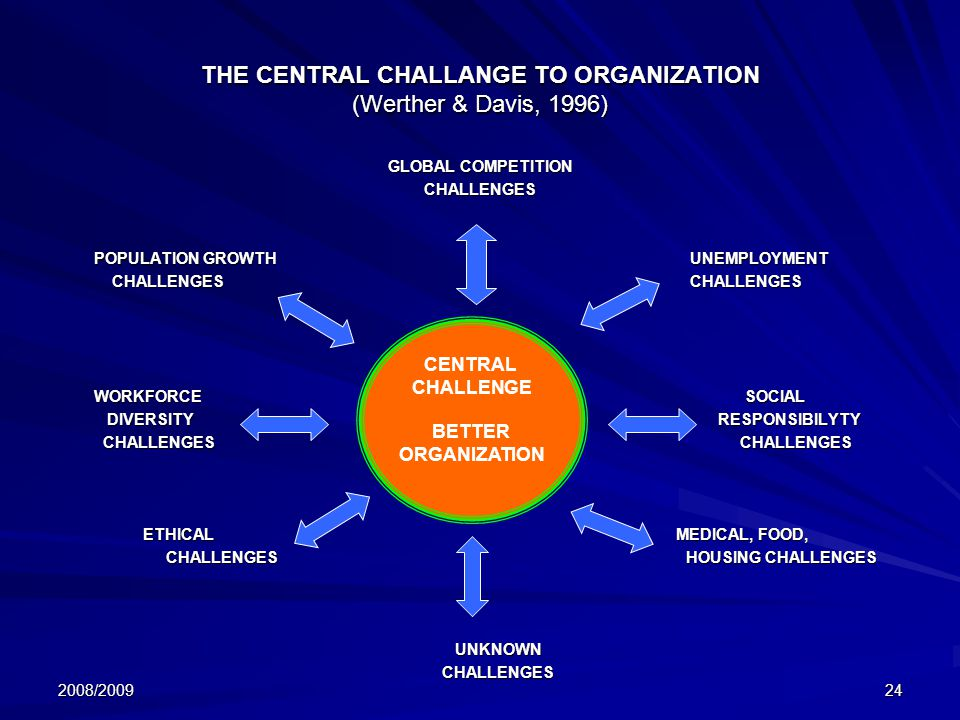 THE CENTRAL CHALLANGE TO ORGANIZATION (Werther & Davis, 1996)