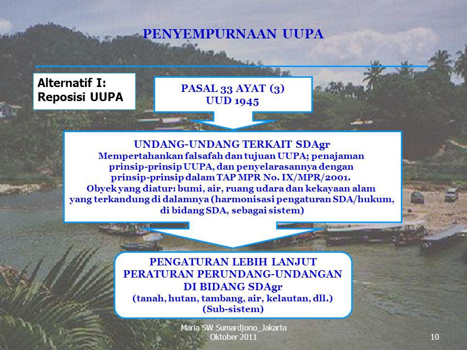 PENYEMPURNAAN UUPA Alternatif I: Reposisi UUPA PASAL 33 AYAT (3)