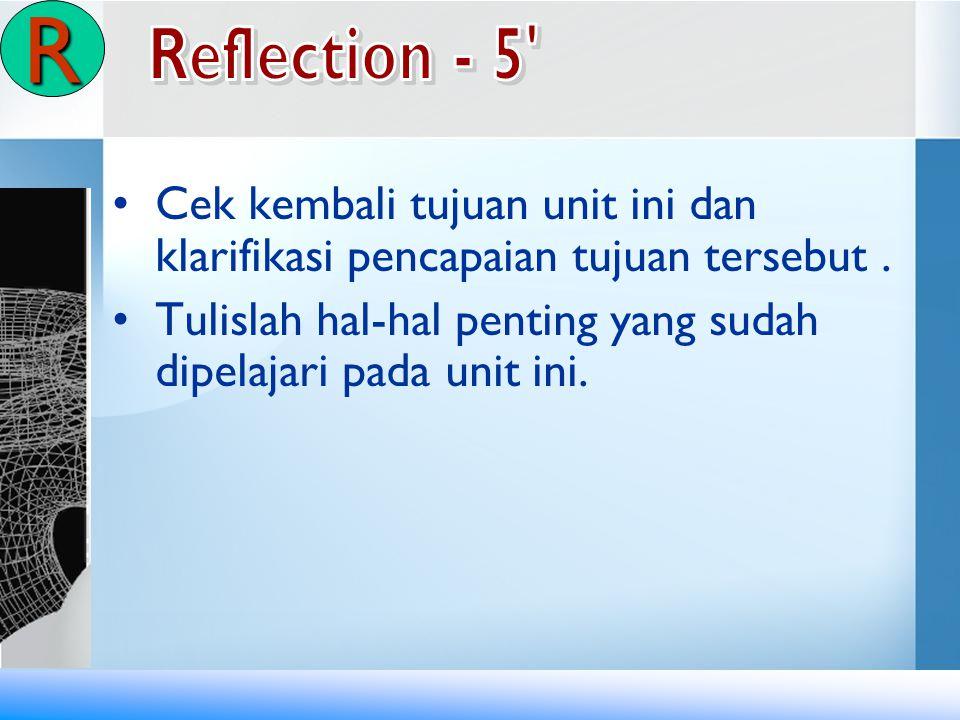 R Reflection - 5 Cek kembali tujuan unit ini dan klarifikasi pencapaian tujuan tersebut .