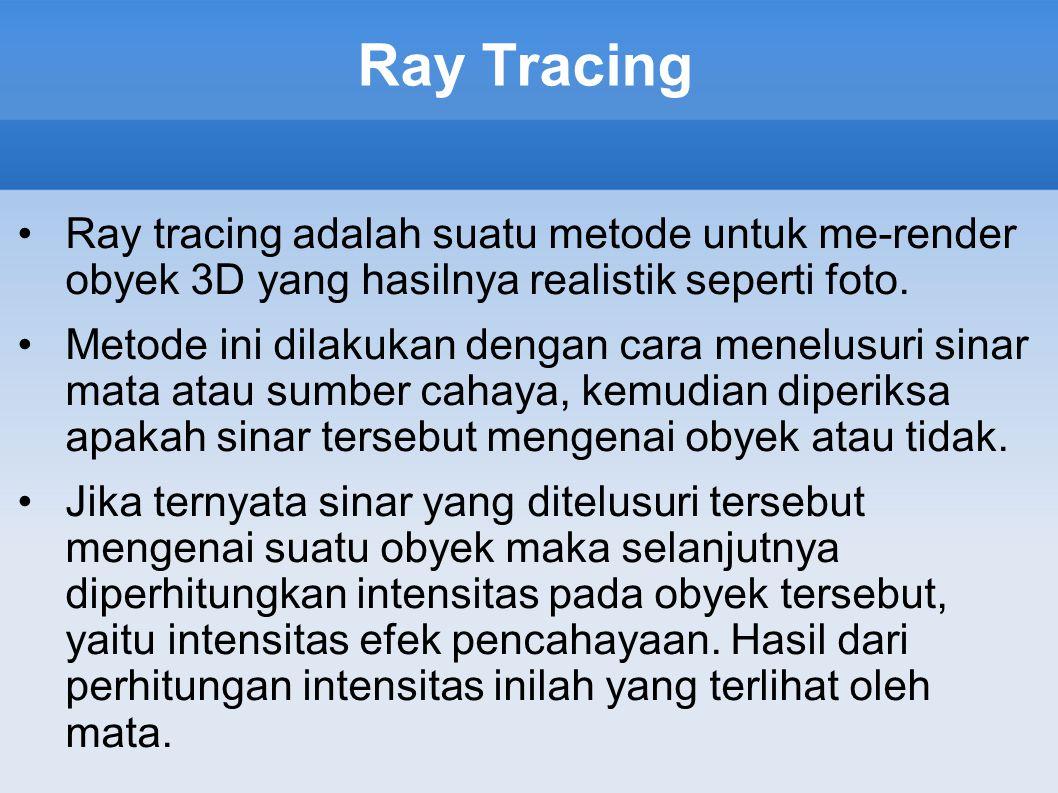 Ray Tracing Ray tracing adalah suatu metode untuk me-render obyek 3D yang hasilnya realistik seperti foto.