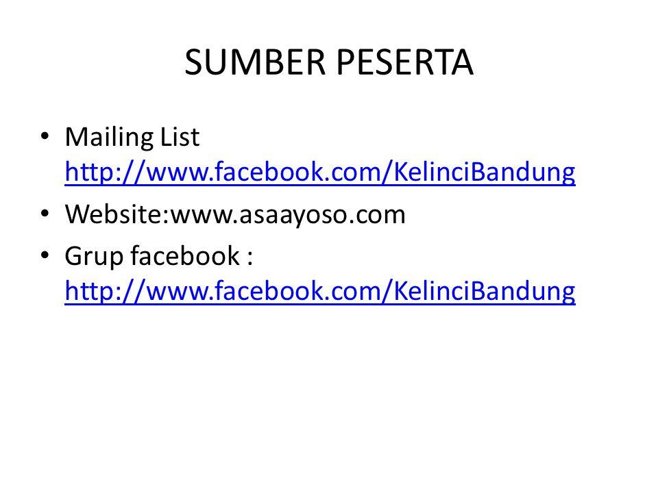 SUMBER PESERTA Mailing List http://www.facebook.com/KelinciBandung
