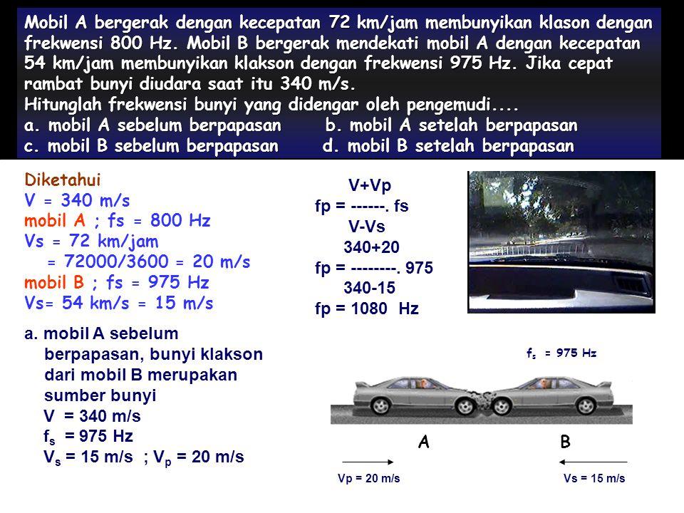 Hitunglah frekwensi bunyi yang didengar oleh pengemudi....