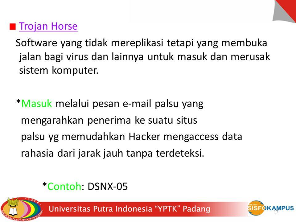 Trojan Horse Software yang tidak mereplikasi tetapi yang membuka jalan bagi virus dan lainnya untuk masuk dan merusak sistem komputer.