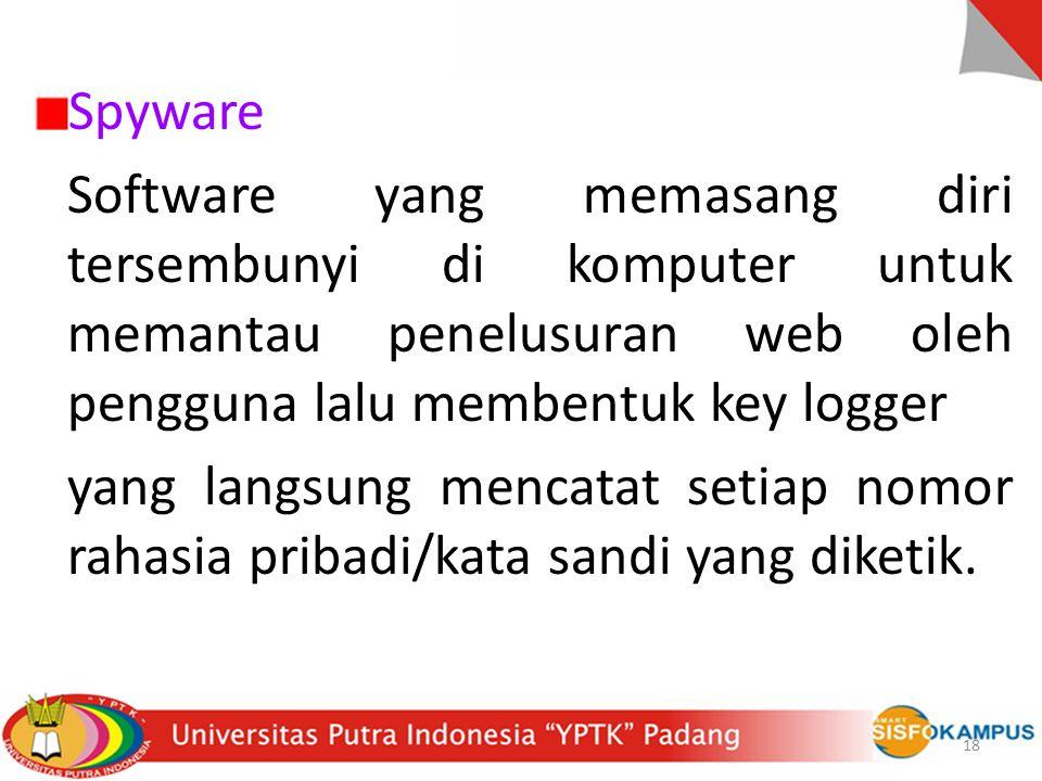 Spyware Software yang memasang diri tersembunyi di komputer untuk memantau penelusuran web oleh pengguna lalu membentuk key logger.
