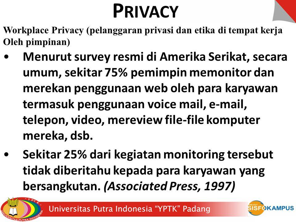 PRIVACY Workplace Privacy (pelanggaran privasi dan etika di tempat kerja. Oleh pimpinan)