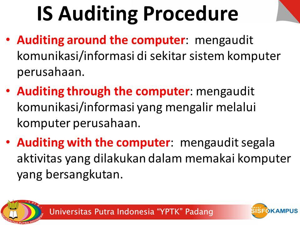 IS Auditing Procedure Auditing around the computer: mengaudit komunikasi/informasi di sekitar sistem komputer perusahaan.