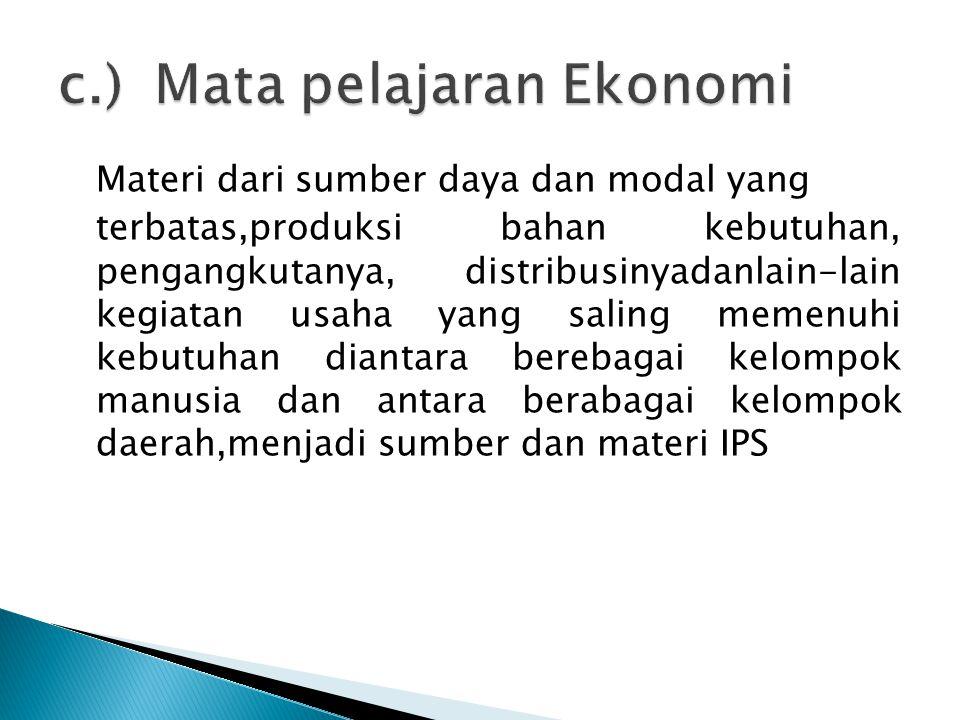 c.) Mata pelajaran Ekonomi
