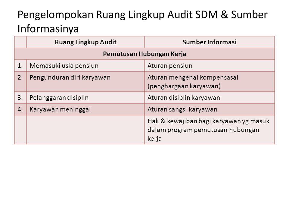 Pengelompokan Ruang Lingkup Audit SDM & Sumber Informasinya