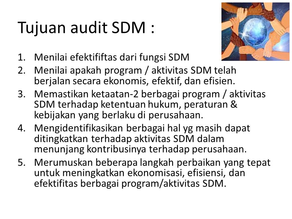 Tujuan audit SDM : Menilai efektififtas dari fungsi SDM