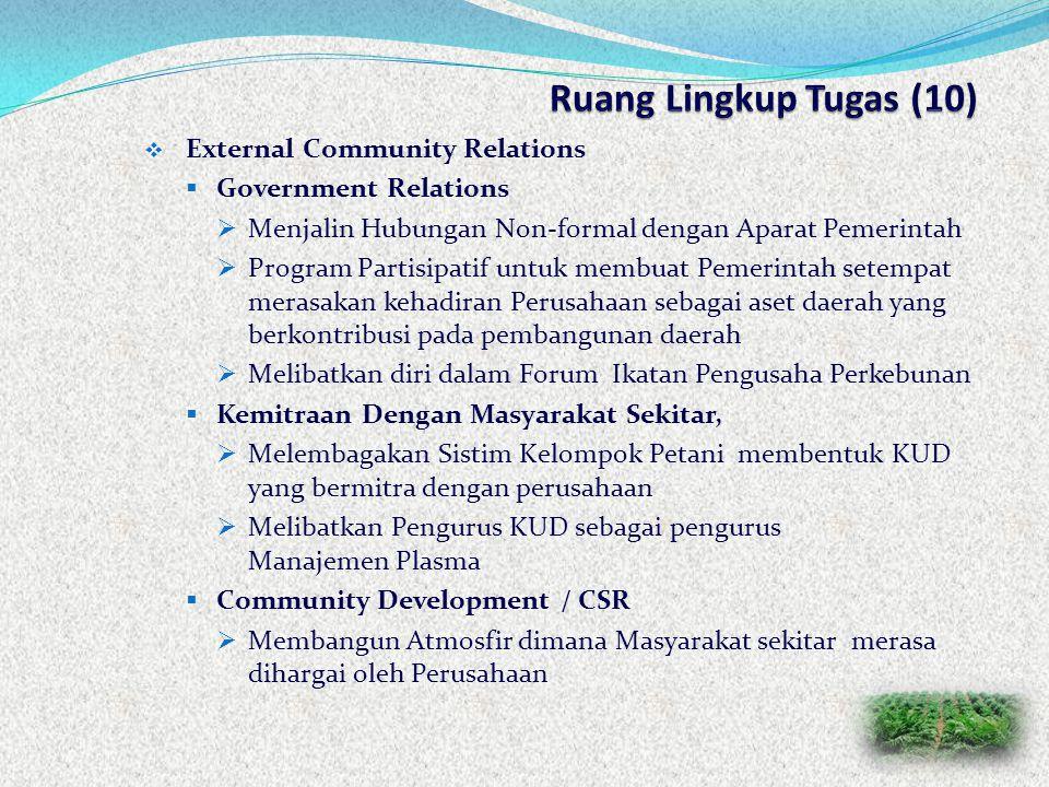 Ruang Lingkup Tugas (10) External Community Relations
