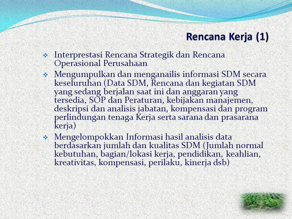 Rencana Kerja (1) Interprestasi Rencana Strategik dan Rencana Operasional Perusahaan.