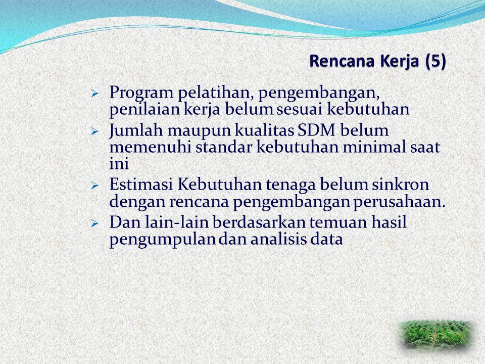 Rencana Kerja (5) Program pelatihan, pengembangan, penilaian kerja belum sesuai kebutuhan.