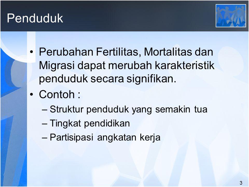 Penduduk Perubahan Fertilitas, Mortalitas dan Migrasi dapat merubah karakteristik penduduk secara signifikan.