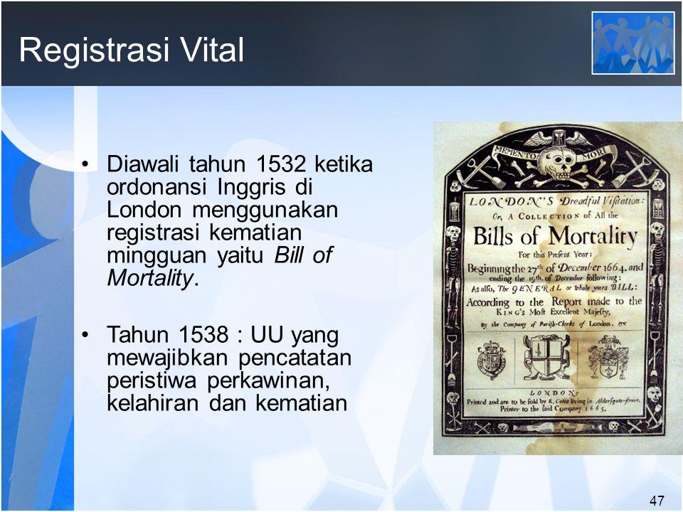 Registrasi Vital Diawali tahun 1532 ketika ordonansi Inggris di London menggunakan registrasi kematian mingguan yaitu Bill of Mortality.