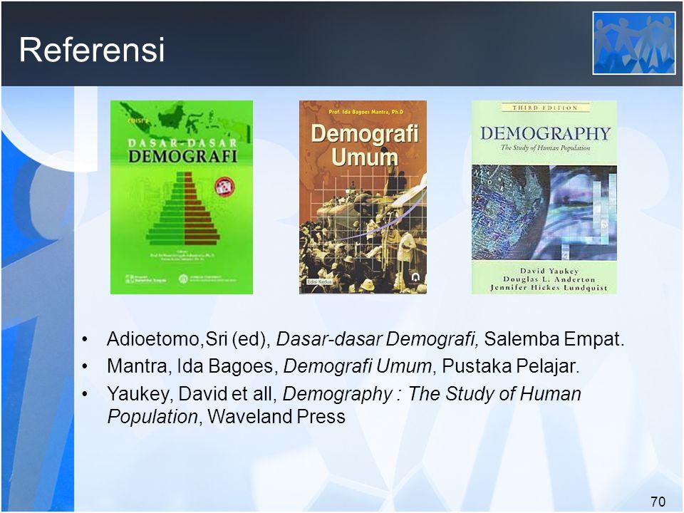 Referensi Adioetomo,Sri (ed), Dasar-dasar Demografi, Salemba Empat.