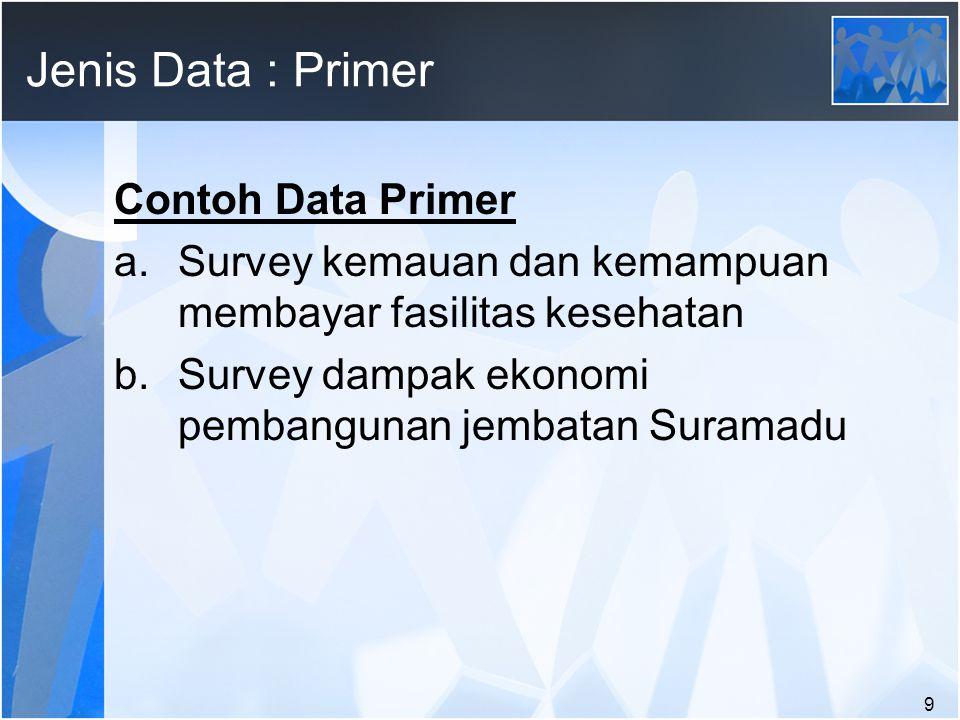 Jenis Data : Primer Contoh Data Primer