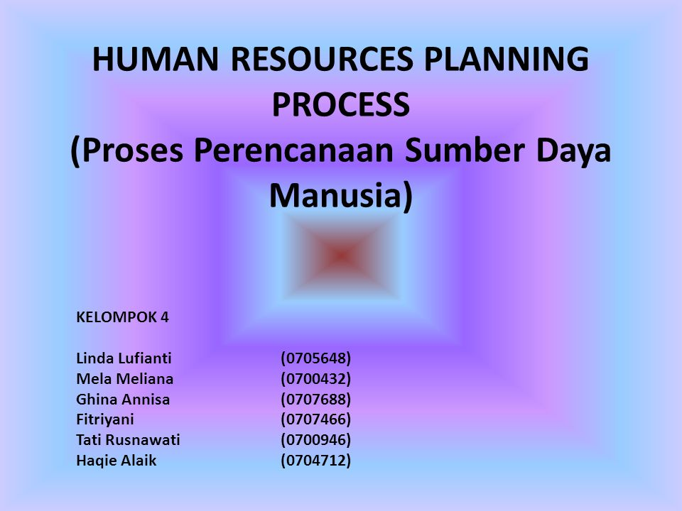 HUMAN RESOURCES PLANNING PROCESS (Proses Perencanaan Sumber Daya Manusia)
