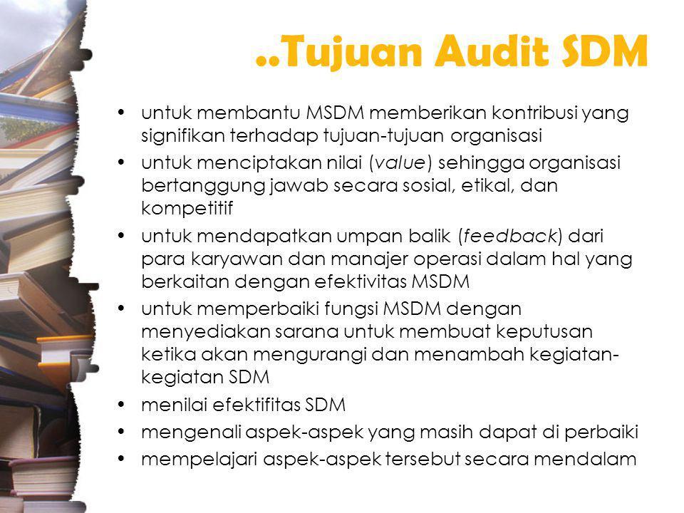 ..Tujuan Audit SDM untuk membantu MSDM memberikan kontribusi yang signifikan terhadap tujuan-tujuan organisasi.
