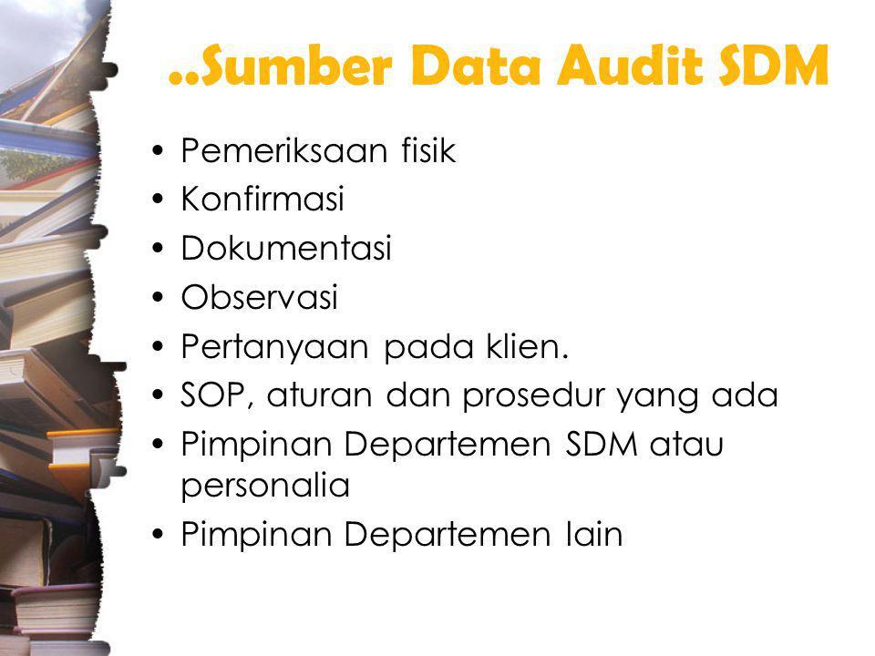 ..Sumber Data Audit SDM Pemeriksaan fisik Konfirmasi Dokumentasi