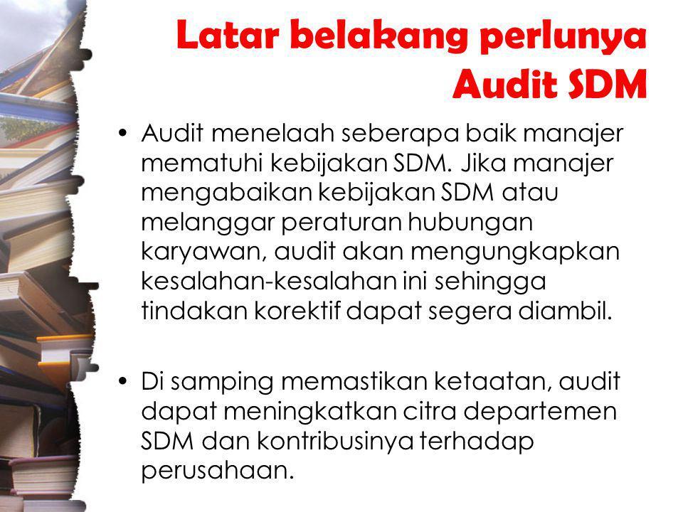 Latar belakang perlunya Audit SDM