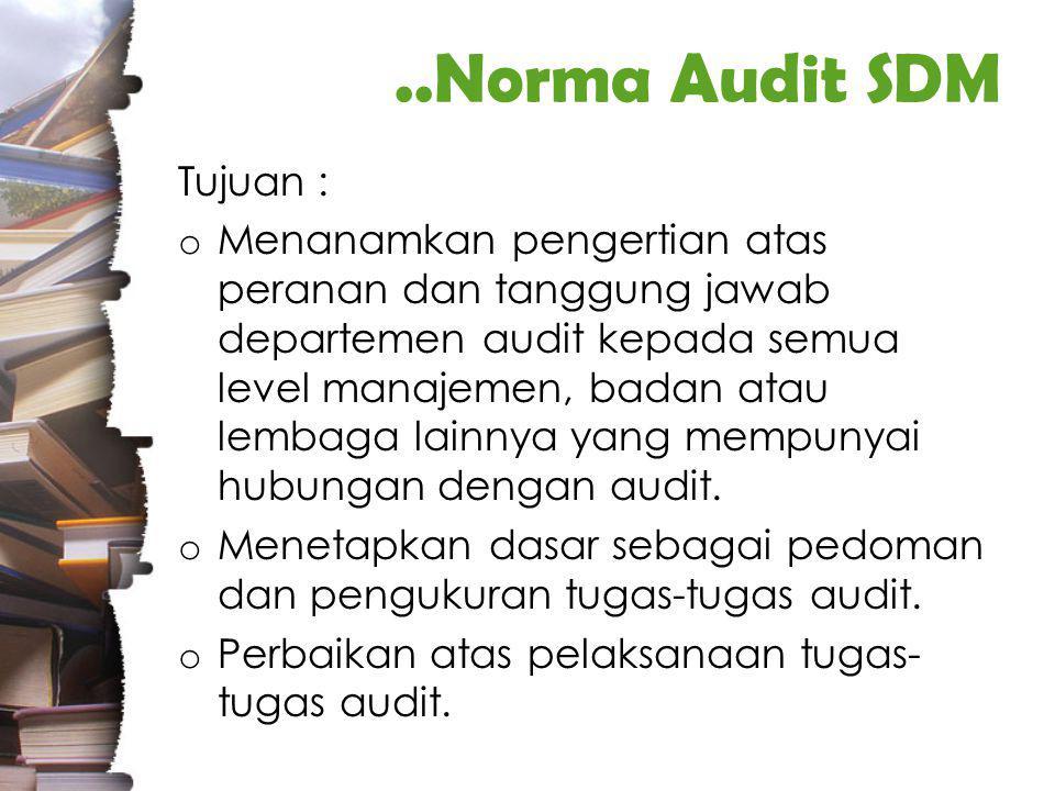 ..Norma Audit SDM Tujuan :
