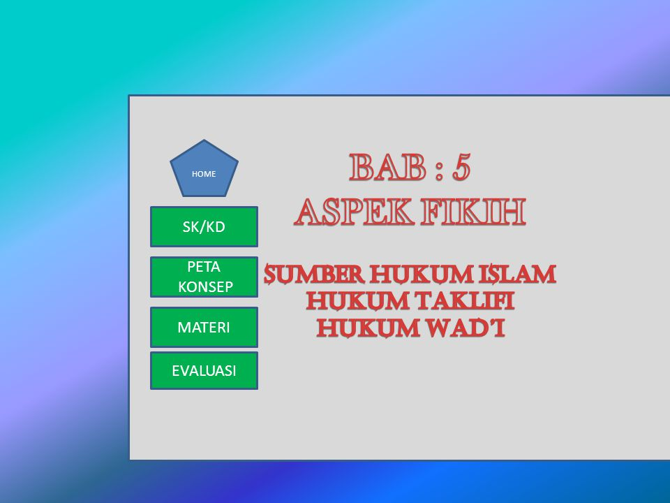 BAB : 5 ASPEK FIKIH SUMBER HUKUM ISLAM HUKUM TAKLIFI HUKUM WAD'I SK/KD