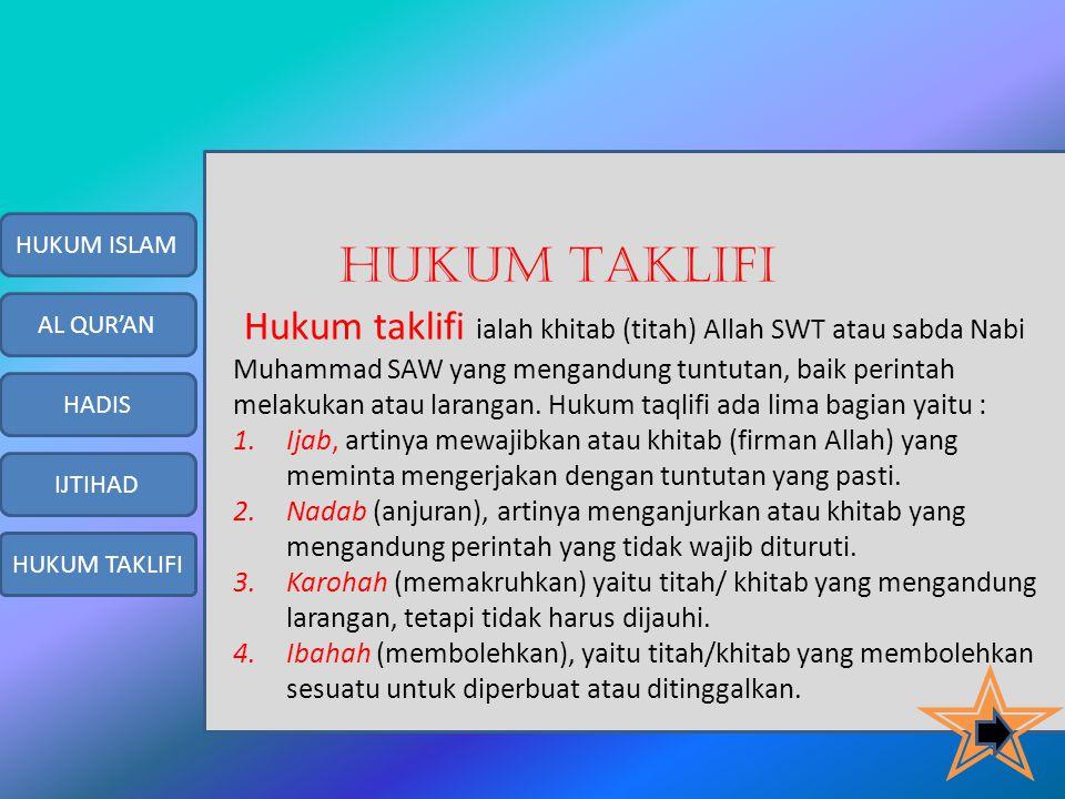 HUKUM ISLAM HUKUM TAKLIFI.