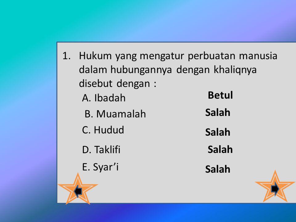 Hukum yang mengatur perbuatan manusia dalam hubungannya dengan khaliqnya disebut dengan :