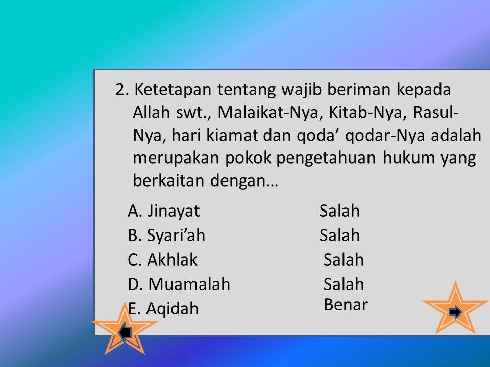 2. Ketetapan tentang wajib beriman kepada