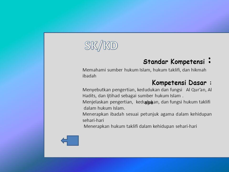 SK/KD Standar Kompetensi : Kompetensi Dasar : apa