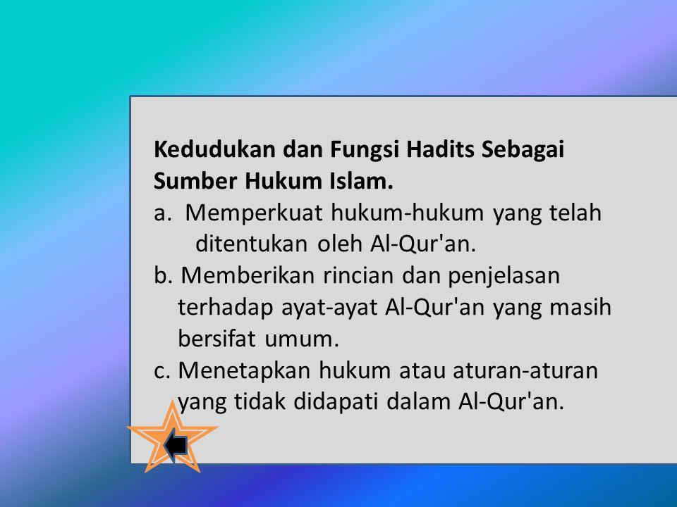 Kedudukan dan Fungsi Hadits Sebagai Sumber Hukum Islam.