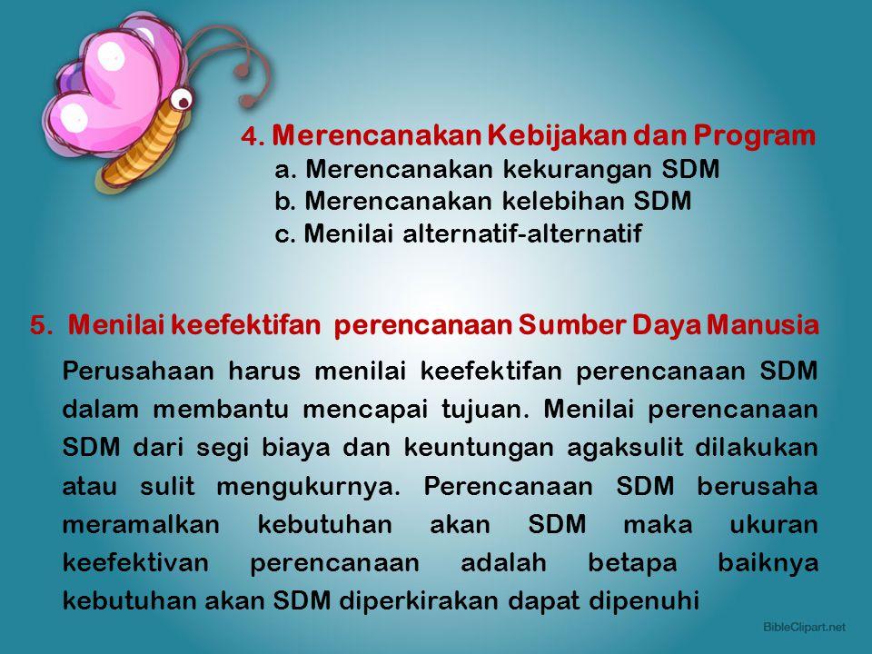 4. Merencanakan Kebijakan dan Program a. Merencanakan kekurangan SDM b