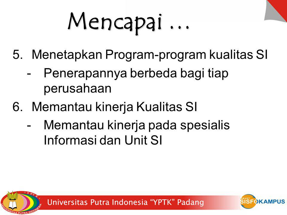Mencapai … Menetapkan Program-program kualitas SI