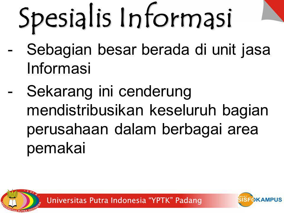 Spesialis Informasi Sebagian besar berada di unit jasa Informasi