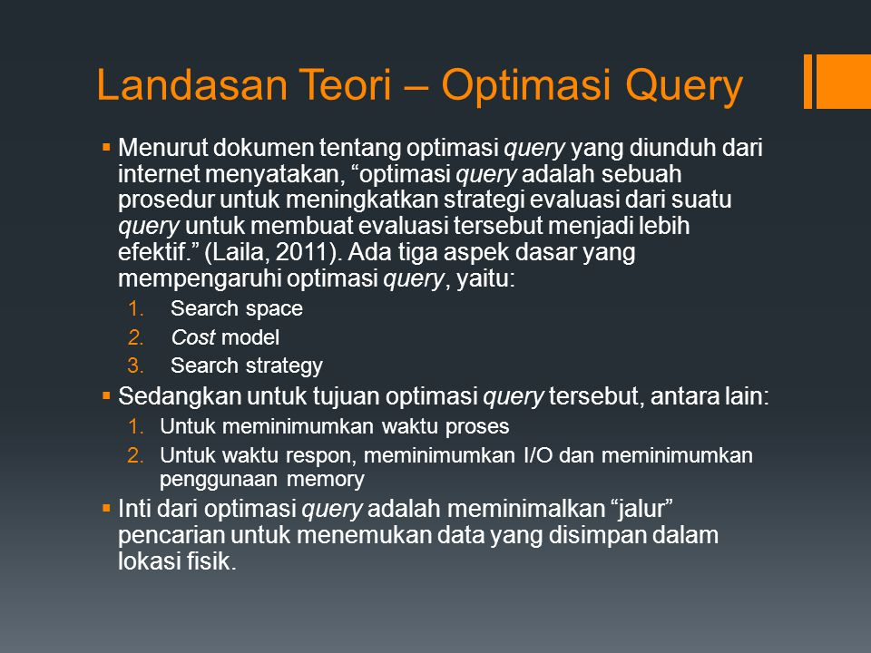 Landasan Teori – Optimasi Query