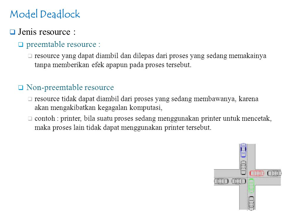 Model Deadlock Jenis resource : preemtable resource :