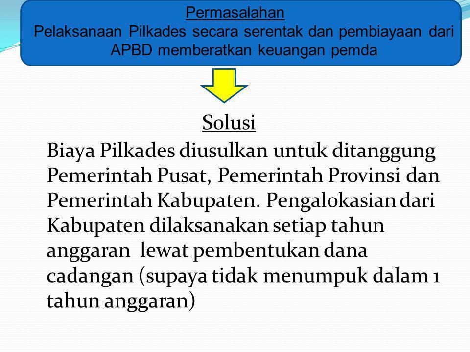 Permasalahan Pelaksanaan Pilkades secara serentak dan pembiayaan dari APBD memberatkan keuangan pemda.