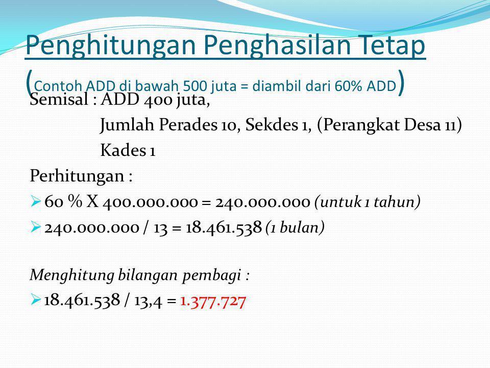 Penghitungan Penghasilan Tetap (Contoh ADD di bawah 500 juta = diambil dari 60% ADD)