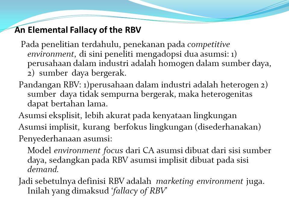 An Elemental Fallacy of the RBV