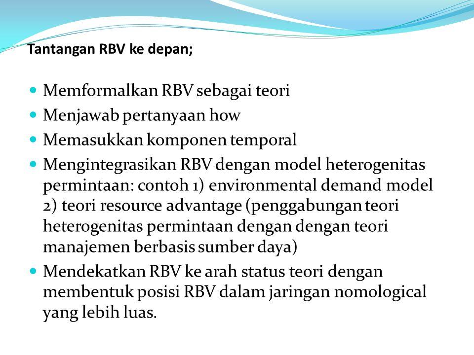 Tantangan RBV ke depan;