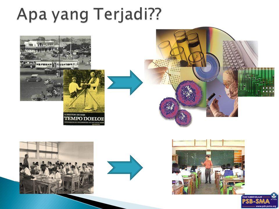 Apa yang Terjadi Gambar atas: alat transportasi, komunikasi dan teknologi informasi mengalami kemajuan yang pesat.
