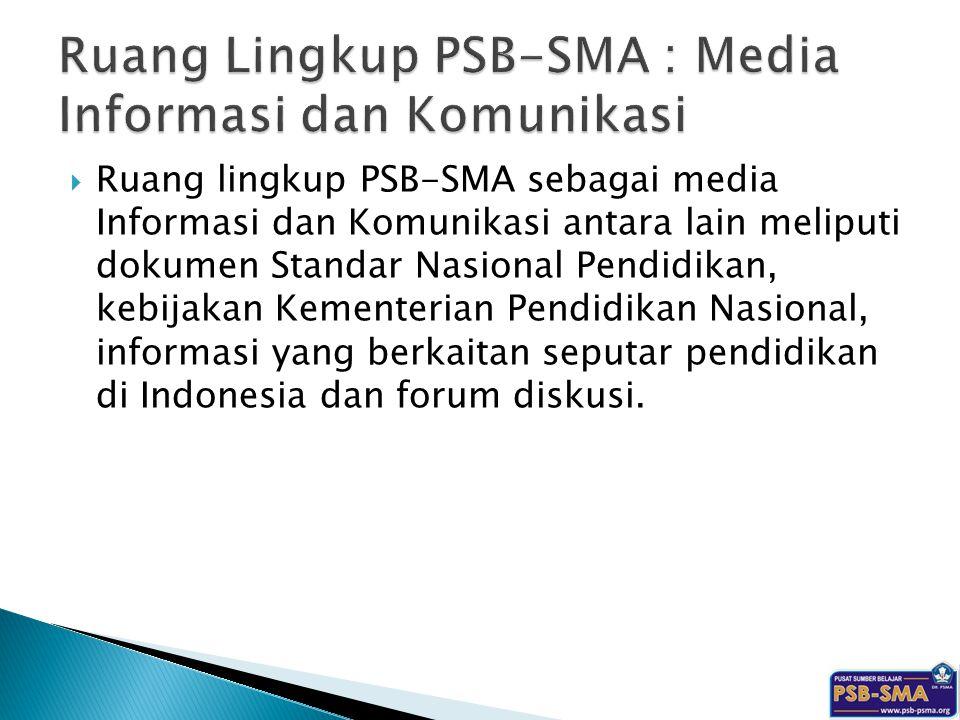 Ruang Lingkup PSB-SMA : Media Informasi dan Komunikasi