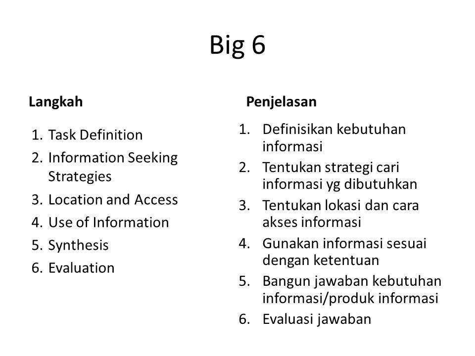 Big 6 Langkah Penjelasan Definisikan kebutuhan informasi