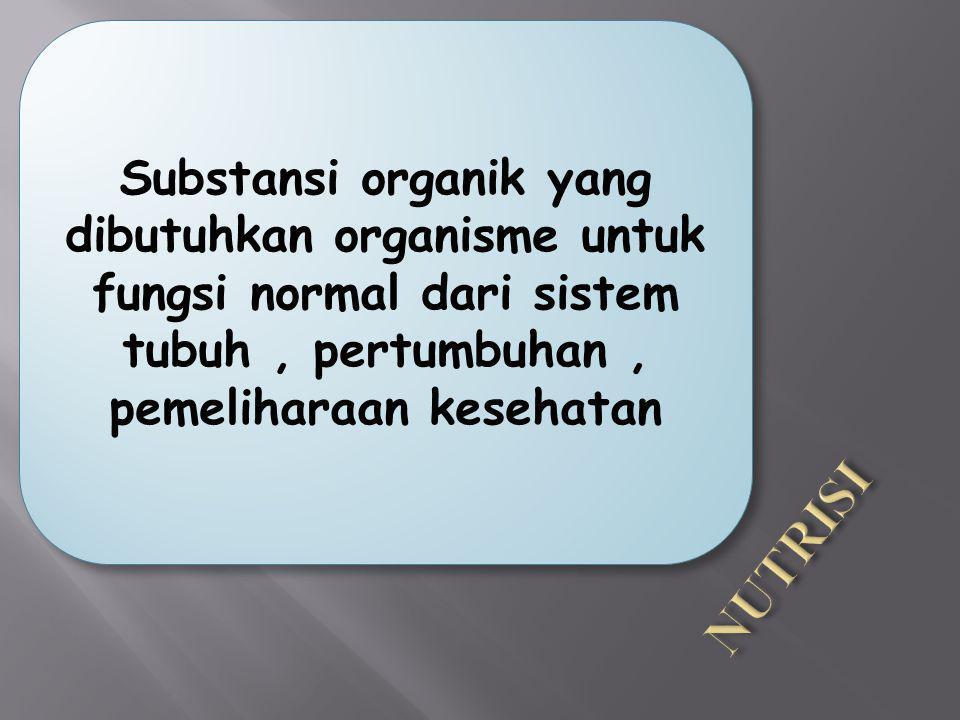 Substansi organik yang dibutuhkan organisme untuk fungsi normal dari sistem tubuh , pertumbuhan , pemeliharaan kesehatan