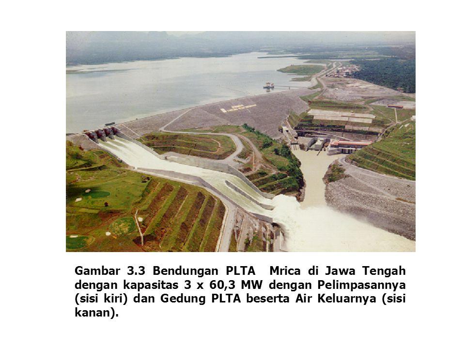 Gambar 3.3 Bendungan PLTA Mrica di Jawa Tengah dengan kapasitas 3 x 60,3 MW dengan Pelimpasannya (sisi kiri) dan Gedung PLTA beserta Air Keluarnya (sisi kanan).