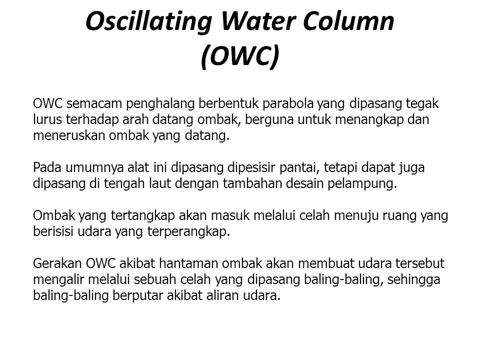 Oscillating Water Column