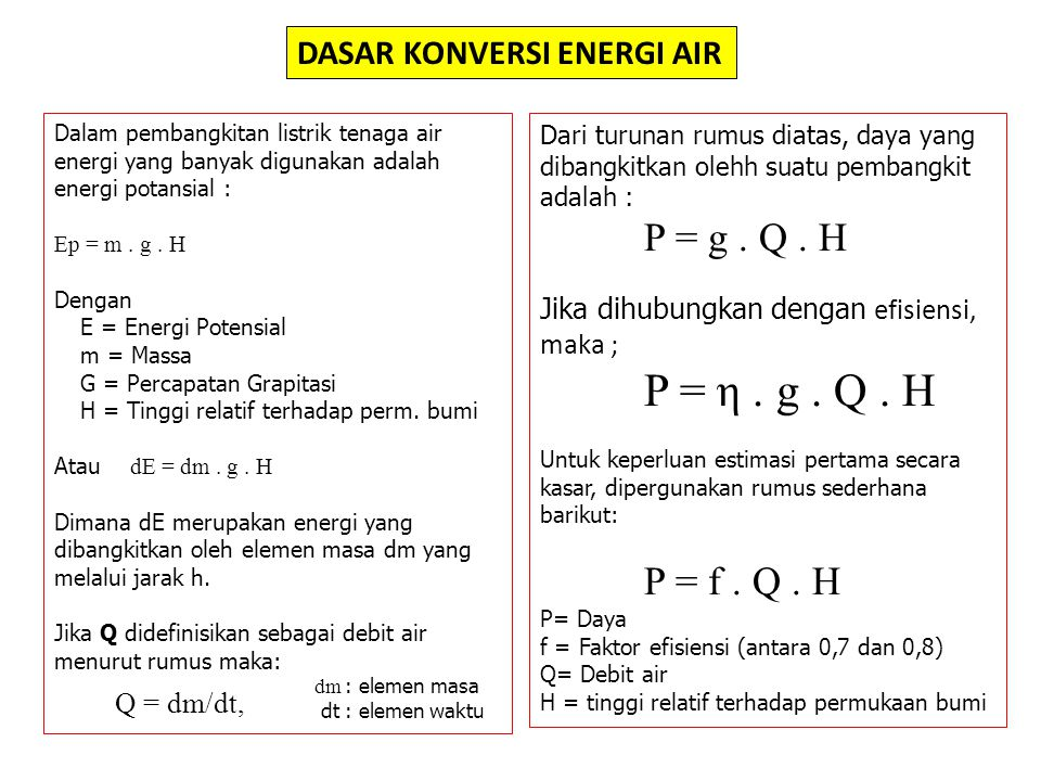 P = f . Q . H Q = dm/dt, DASAR KONVERSI ENERGI AIR