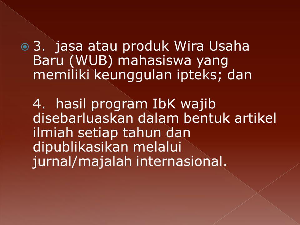 3. jasa atau produk Wira Usaha Baru (WUB) mahasiswa yang memiliki keunggulan ipteks; dan 4.