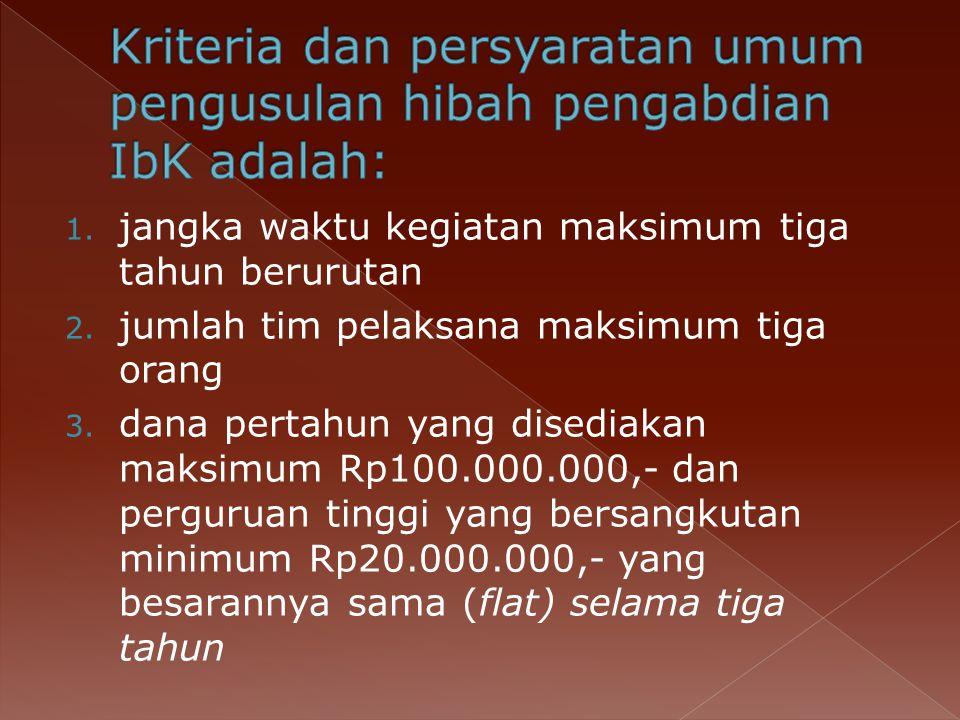 Kriteria dan persyaratan umum pengusulan hibah pengabdian IbK adalah: