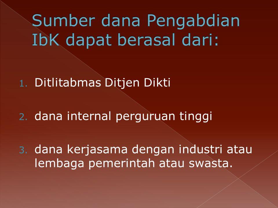 Sumber dana Pengabdian IbK dapat berasal dari: